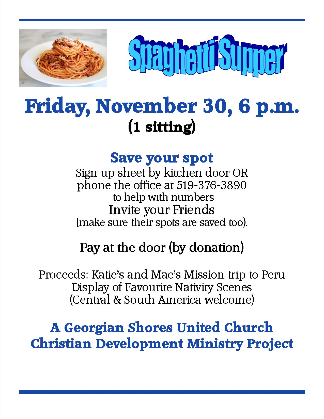 Spaghetti Supper @ Georgian Shores United Church | Owen Sound | Ontario | Canada